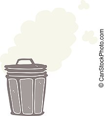flat color style cartoon stinky garbage can