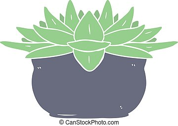 flat color style cartoon succulent plant
