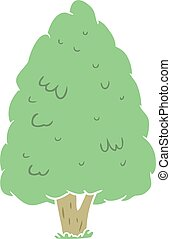 flat color style cartoon tall tree