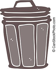 flat color style cartoon trash can