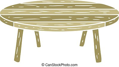 flat color style cartoon wooden table
