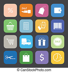 Flat Color style Shopping icons vector set.