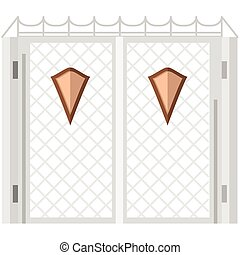Flat color vector icon for steel gates with shields