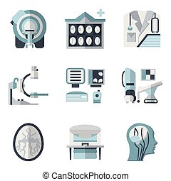 Flat color vector icons for CT scan. MRI - Flat color design...