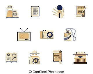 Flat color vector icons for media publishing