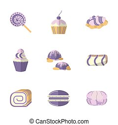 Flat color vector icons for pastry