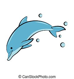 flat color vector illustration of a blue dolphin