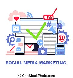Flat colored concept of social media marketing.