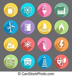 A vector icon set with 16 Energy production/saving/Environment themed icons Vector file is EPS v8, no transparency or meshes used. All Icons are layered and properly labeled. Ai CS5, Hi res transparent PNG (5000x5000) and Hi res layered and transparent PSD (7000x7000) are included.