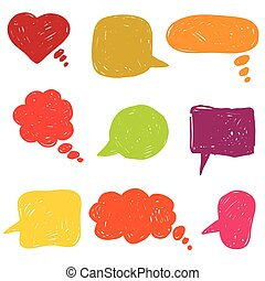 flat colored speech bubbles. hand drawn icons