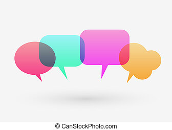 Flat colorful chat bubble. Modern design. Communication and social media concept.