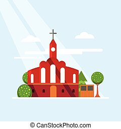 Flat Colorful Church Concept