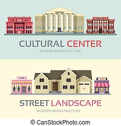 Flat colorful city cultural center buildings street. Icon concept design. Vector urban landscape background. Architecture construction: opera, courthouse, museum