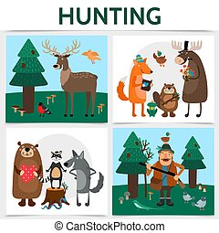 Flat Colorful Hunting Square Concept - Flat colorful hunting...