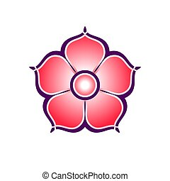 Flat colorful icon of sakura flower