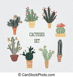 succulent plants and cactuses - Flat colorful illustration ...