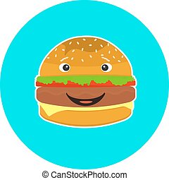 Flat colorful kids smiling hamburger character
