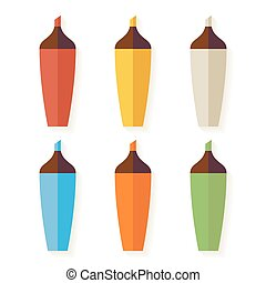 Flat Colorful Markers with Shadow Set isolated over white