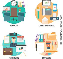 Flat Colorful Office Elements Collection
