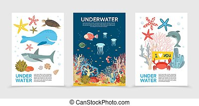 Flat Colorful Underwater Life Brochures - Flat colorful...
