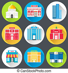 Flat colorful vector sity buildings set. Icon background concept design.  emplate for website and mobile appliance