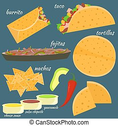 Flat colorful vector traditional mexican food set