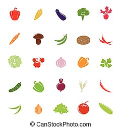 Flat colorful vegetable silhouettes