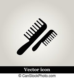 Flat comb icon on grey background