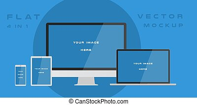 Flat computer monitor, laptop, tablet, smartphone isolated on blue background. Can use for template presentation, web design and ui kits. White electronic gadget, device mockup. Vector illustration