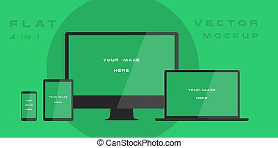 Flat computer monitor, laptop, tablet, smartphone isolated on green background. Can use for template presentation, web design and ui kits. White electronic gadget, device mockup. Vector illustration