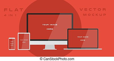 Flat computer monitor, laptop, tablet, smartphone isolated on red background. Can use for template presentation, web design and ui kits. White electronic gadget, device mockup. Vector illustration