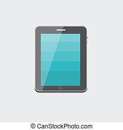 Flat Computer Tablet Concept Vector Illustration
