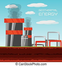 flat concept geothermal generator energy, vector...