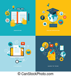 Flat concept icons for education - Set of flat design ...