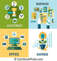 Flat concept of business, office, achievement, savings