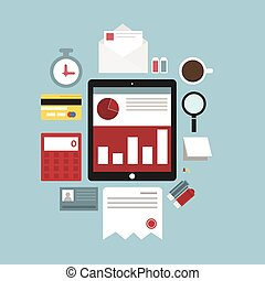 Flat concept of documents for business, vector illustration, eps10