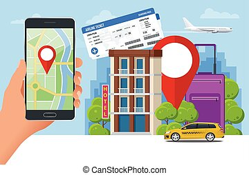 Flat concept of hotel search and booking online. Hand holding a smartphone. Mobile application for renting accommodations.