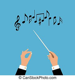 Flat concept of music orchestra or chorus conductor. Vector...