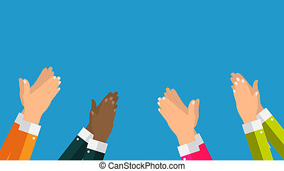 Flat. Concept of success Applause. Hands clapping Illustration