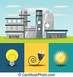 flat concept related with power plant, bulb, connecter and...