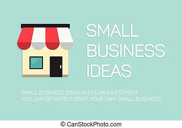 flat concept small business banner on blue background