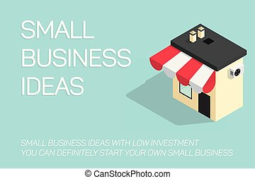 flat concept small business illustration on blue background