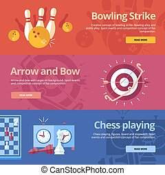 Flat concepts for bowling strike, arrow bow, chess playing.