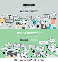 Flat concepts for hosting and SEO - Set of flat design...