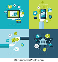 Flat design vector illustration concepts of online payment methods . Icons for online payment gataway, mobile payments, electronic funds transfers and bank wire transfer.