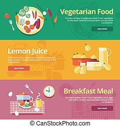 Flat concepts for vegetarian food, lemon juice, breakfast meal.