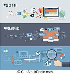 Set of flat design concepts for web development. Concepts for web design, programming and SEO.