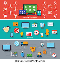 Flat concepts set - Mobile applications business and e-...