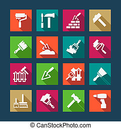 flat construction and repair icons - Flat Construction And...