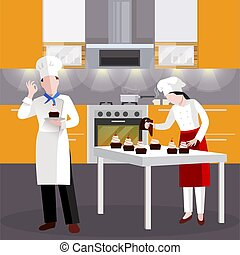 Flat Cooking people In Restaurant Composition